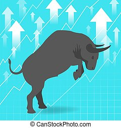 concept, uptrend, présente, fond, marché hausse, stockage