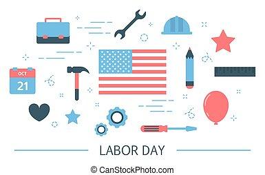 concept, usa, flag., main-d'œuvre, américain, tradition, jour