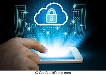 concept, usage, smartphone, business, intimité, concept, données, global, cyber, cadenas, protection, nuage, internet, homme affaires, sécurité, technologie, fond