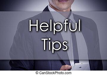 concept, utile, business, texte, -, jeune, homme affaires, pointes