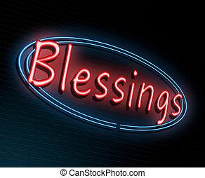 concept., välsignelser, neon