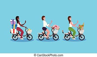concept, vélo, bouquet, femme, cyclisme, filles, mélange, équitation vélo, vacances, plat, entiers, boîtes, porter, caractères, horizontal, fleurs, dessin animé, femmes, épicerie, sac don, longueur, course, activité