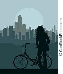 concept, vélo, vecteur, fond