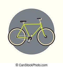 concept, vélo, voyage, actif, tourisme, icône