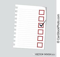 concept, vérifié, liste contrôle, boxes., illustration, vecteur, noir, marqueur, rouges