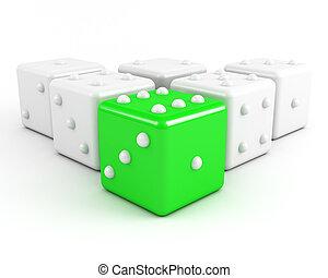 concept., vůdcovství, nezkušený, hrát v kostky