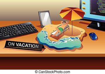 concept, vakantie, werkende