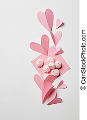 concept valentine card - beautiful paper hearts and pink...