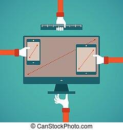 concept, van, anders, gadget, scherm, grootte,...
