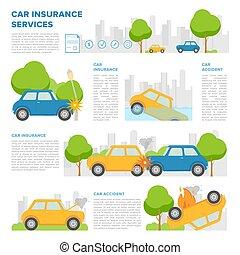 concept, van, autoverzekering, tegen, gevarieerd, incidents., pagina, mal, met, plek, voor, tekst, en, anders, auto, accidents., kleurrijke, vector, spotprent, style.