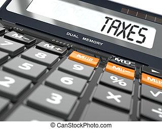 concept, van, belastingen, berekening, rekenmachine