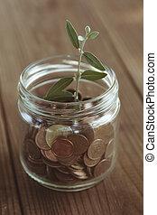 concept, van, besparing, economie, en, financiën