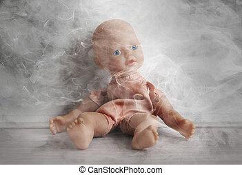concept, van, child abuse, -, smoking, in, omgeving, van, kinderen