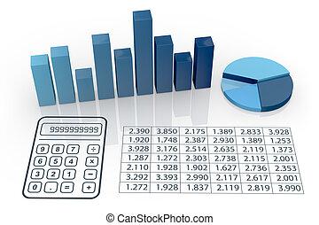 concept, van, financiële analyse
