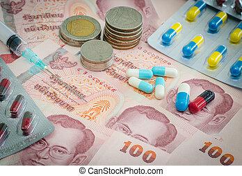 concept, van, geneeskunde, en, geld