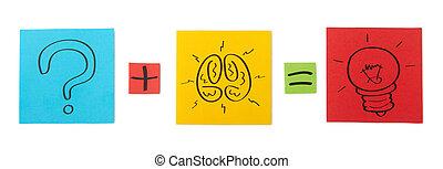 concept, van, grondig, voor, solution., papier kleurde, sheets.