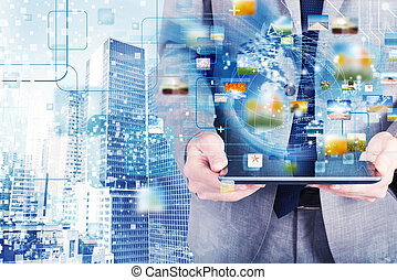 concept, van, internet aansluiting, netwerk, met, tablet