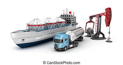 concept, van, olie, extractie, en, raffinage, vrijstaand, op wit