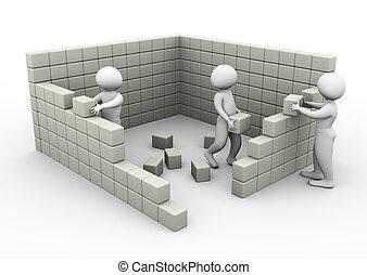 concept, van, vorm een team werk, en, bouwsector