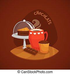 concept, vastgesteld ontwerp, chocolade