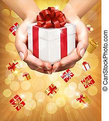 concept, vasthouden, schenking verlenend, boxes., geschenken., achtergrond, handen, vakantie