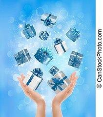 concept, vasthouden, schenking verlenend, boxes., geschenken., vector, achtergrond, handen, vakantie, illustration.