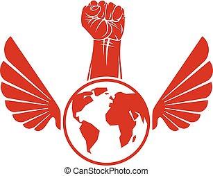 concept., vecteur, ailes, non-conformiste, composé, serré, éditorial, oiseau, élevé, poing, illustration, globe., révolution, la terre