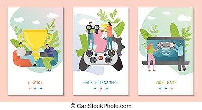 concept, vecteur, caractères, équipe, dessin animé, récompense, e-sport, ensemble, illustration, gagner, jeu, gens, bannières