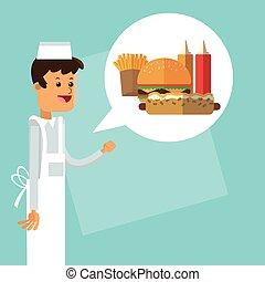 concept., vecteur, chef cuistot, icon., nourriture., delicius, graphique, livraison