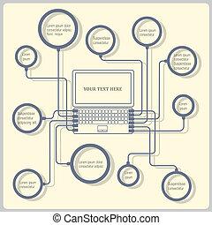 concept, vecteur, conception, laptop., gabarit