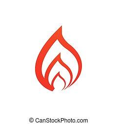 concept, vecteur, conception, rouges, flammes