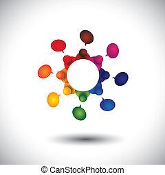 concept, vecteur, de, gosses école, conversation, ou, employé, réunion, dans, cir