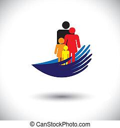 concept, vecteur, graphic-, mains, protéger, famille, de, parents, &, children., les, illustration, spectacles, paume, silhouette, &, icônes, de, père, mère, fils, &, fille, ensemble