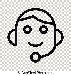 concept., vecteur, illustration, blanc, casque, helpdesk, style., icône, arrière-plan., bavarder, opérateur, plat, isolé, business
