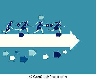 concept, vecteur, illustration., business, courant, toward., femme affaires