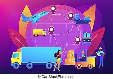 concept, vecteur, illustration., business, logistique