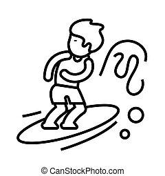 concept, vecteur, illustration, contour, signe, symbole., surfeur, icône, linéaire, ligne