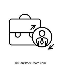 concept, vecteur, illustration, contour, signe, symbole., valise, icône, linéaire, ligne