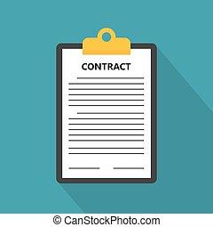concept-, vecteur, illustration, contrat, business
