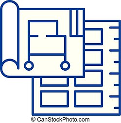concept., vecteur, ligne, projet, symbole, plat, icône, signe, contour, business, illustration.