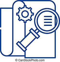 concept., vecteur, ligne, symbole, plat, icône, signe, contour, business, illustration., intelligence