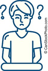 concept., vecteur, ligne, symbole, plat, icône, signe, contour, illustration., confusion