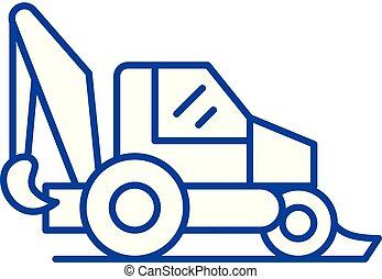 concept., vecteur, ligne, tracteur, symbole, plat, icône, signe, contour, illustration.