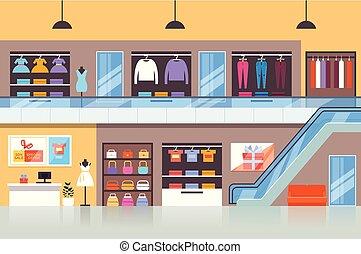 concept., vecteur, marché, tissu, conception, centre commercial, magasin, magasin, plat, illustration, graphique