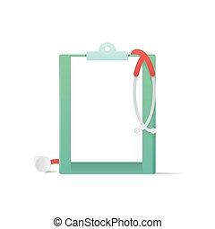 concept., vecteur, monde médical, blanc, stéthoscope, illustration, presse-papiers, arrière-plan.