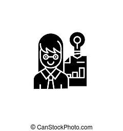 concept., vecteur, noir, entrepreneur, symbole, plat, icône, signe, illustration.