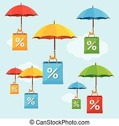 concept., vecteur, parapluie, vente