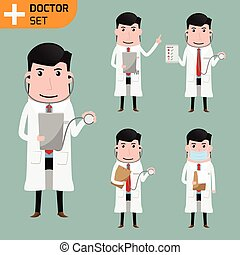 concept., vecteur, soin, intelligent, docteur, poses., présentation, santé, divers, illustration