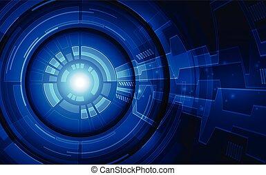 concept., vecteur, technologie, fond, avenir, cyber, illustration, oeil, sécurité