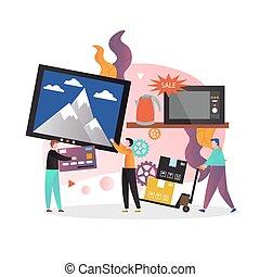concept, vecteur, toile, maison, bannière, appareils, page, site web, vente